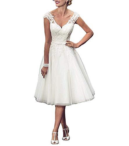 YASIOU Hochzeitskleid Damen weiß Kurz A Linie V Ausschnitt Knielang Spitze tüll Glitzer Hochzeitskleider Standesamt Rückenfrei Brautkleid