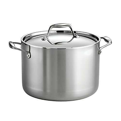 target stock pots Tramontina Covered Stock Pot Stainless Steel Induction-Ready Tri-Ply Clad 8 Quart, 80116/041DS