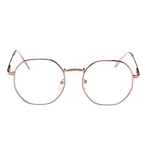 VAVAMAX Metalen Vintage Polygoon Bijziendheid Bril Vrouwen Mannen Ultra Licht Hars Leesbril Vision Care -1.00 ~ -4.0 Dioptrie (sterkte 200, Goud)