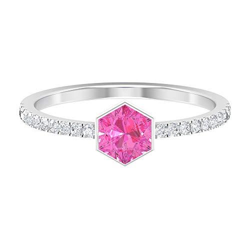 Rosec Jewels 14 quilates oro blanco round-brilliant-shape Hexagon H-I Pink Diamond zafiro sintético rosa