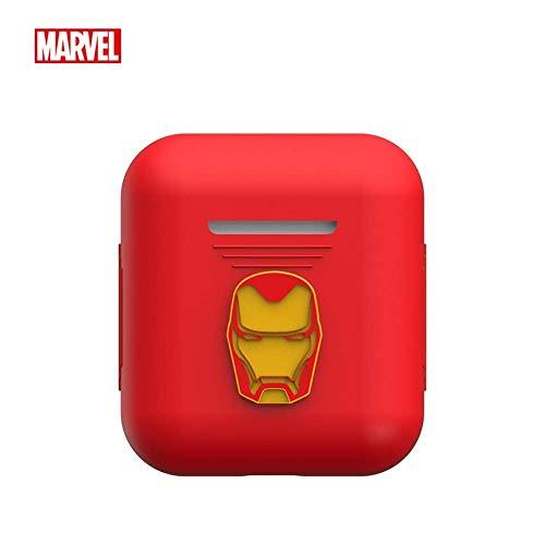 Marvel Avengers Endgame AirPods Schutzhülle aus Silikon und Skin kompatibel mit Apple Airpods 1 und AirPods 2 [LED vorne nicht sichtbar] Roteisenmann