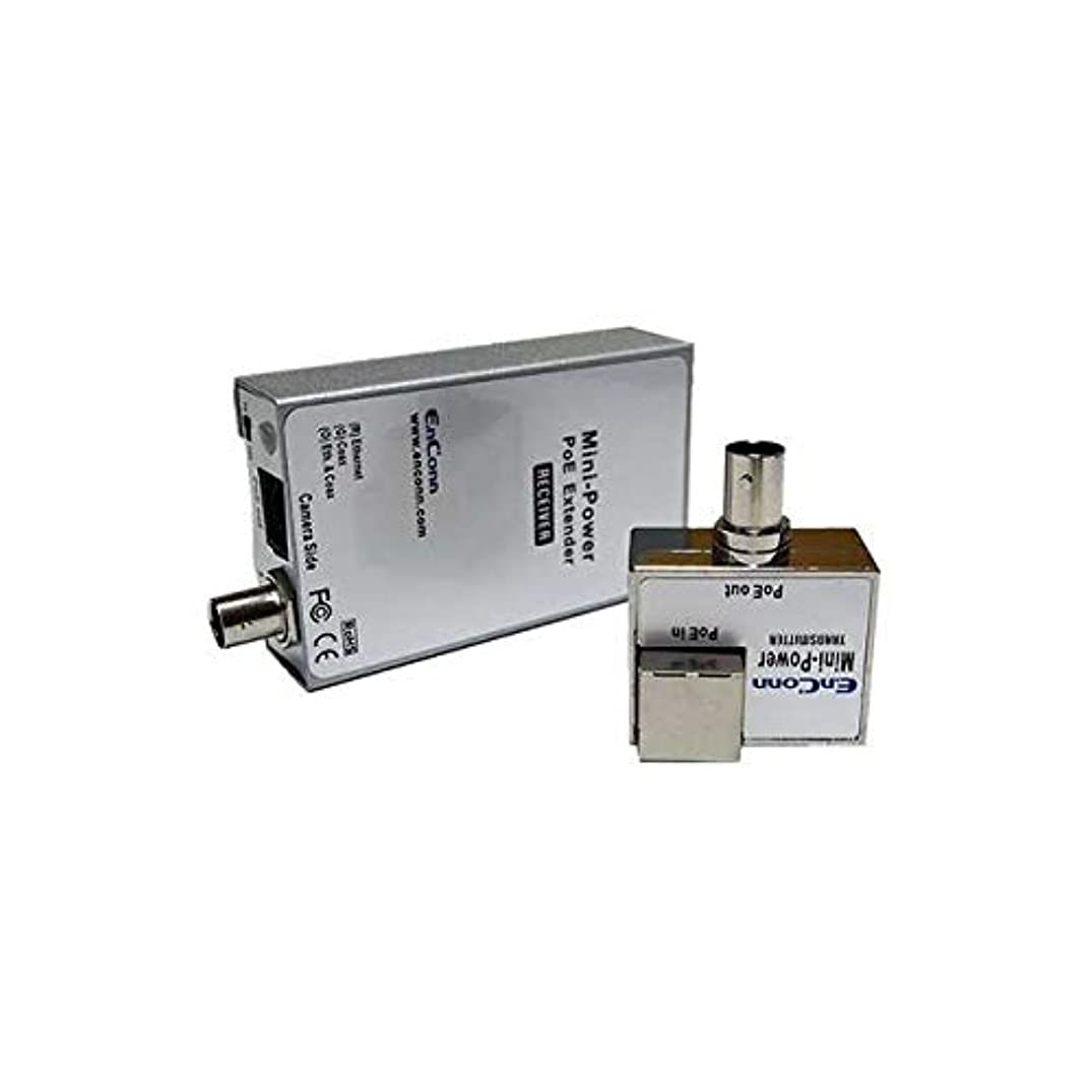 EnConn Mini Power PoE Ethernet Extender Set Over Coaxial Cable (EoC) IP Security CCTV Camera