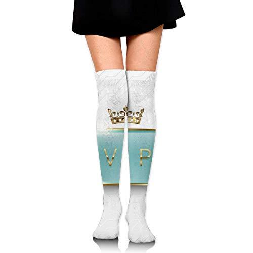 Étiquette en Verre Vert Clair VIP avec des étincelles et Une Couronne de Cadre doré sur Fond Blanc Chaussettes décontractées Chaussettes athlétiques pour Femmes et Hommes Sport