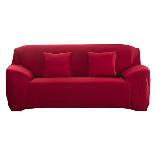 Stretch Couch Cover,Modern Solid Color Sofa Cover For Corner Sofas Armchair And Chaise Lounge Sofas In The Living Room Washable Couch Decoration,Red,4,Seater