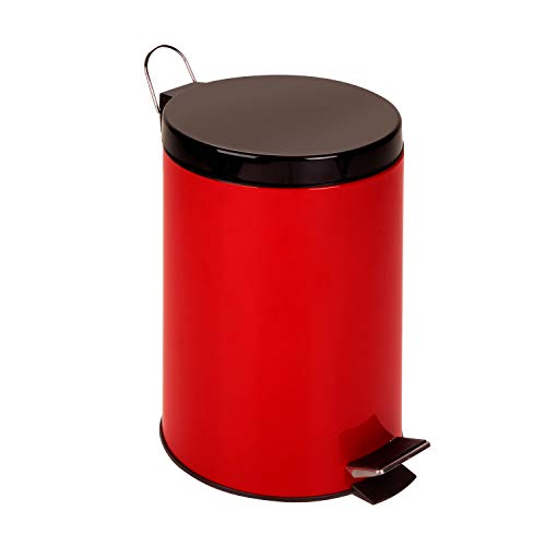 Honey-Can-Do TRS-02073 Stainless Steel Step Trash Can with Liner, Red, 12-Liter/3-Gallon