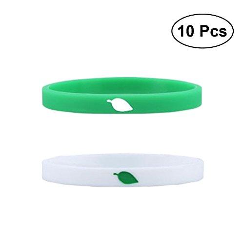 YeahiBaby Pulseras de Silicona Personalizadas para Fittness Carnaval Deporte Escuela 10 Piezas (Blanco y Verde)