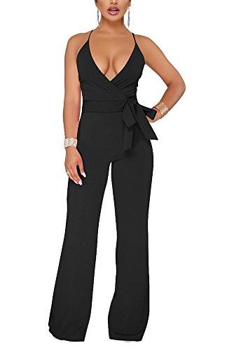 Aro Lora Women's Sexy V Neck Sleeveless Backless Long Wide Leg Pant Jumpsuit Romper Large Black