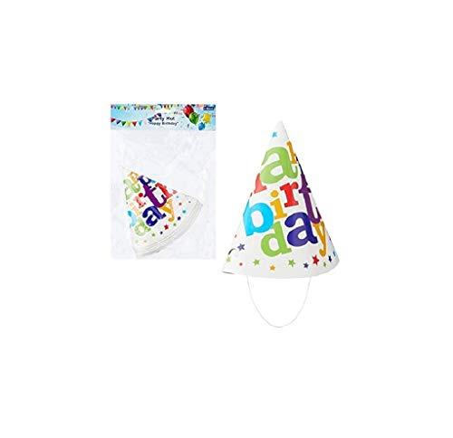 wuselwelt 6 Stück Party Hut Happy Birthday, Partyhut, Partyhüte, Geburtstagshut, für Geburtstag, Party, Event, usw