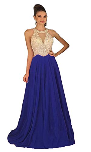 Fanciest Women's Crystal Beaded Prom Dresses 2021 Long Chiffon Long Evening Gowns Formal Royal Blue US6 (Apparel)