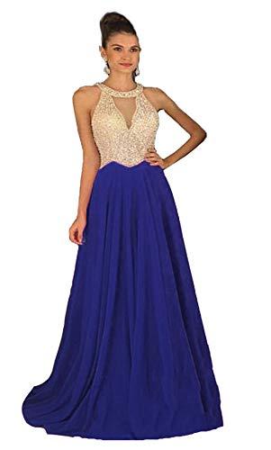 Fanciest Women's Crystal Beaded Prom Dresses 2021 Long Chiffon Long Evening Gowns Formal Royal Blue US6 (Apparel)