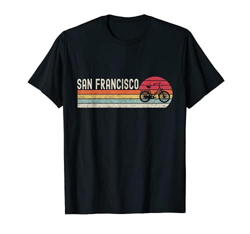 San Francisco Bike Vintage Bicicletta Città Retro Ciclismo Regalo Maglietta