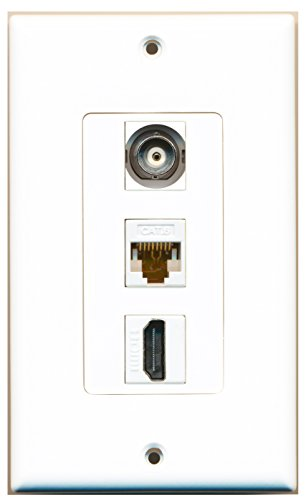 RiteAV - 1 Port HDMI and 1 Port BNC and 1 Port Cat6 Ethernet White Decorative Wall Plate Decorative