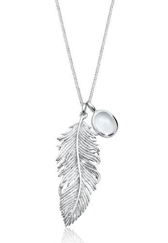 Elli Halskette Damen Feder Anhänger Boho Festival mit Mondstein in 925 Sterling Silber
