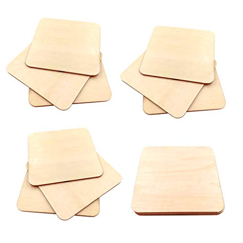 CUTICATE Unvollendete quadratische Holzstücke - 10er-Pack Holzscheiben Holzrohling zum Bemalen Schnitzen Heimtextilien Kunst & Bastelprojekte - 9x9cm