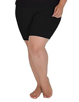 Stretch is Comfort Women s Cotton Plus Size Bike Shorts Black X-Large
