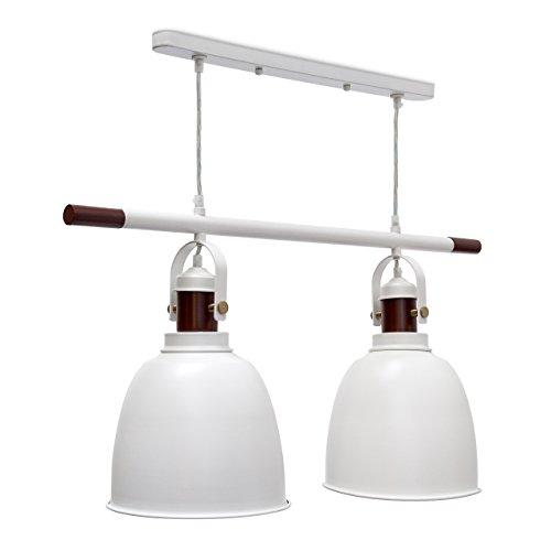 Relaxdays Pendelleuchte Glocca 2-flammig HBT: 116 x 81 x 24 cm Deckenleuchte höhenverstellbar aus Metall und Holz für zwei Leuchten Hängelampe in Glocken-Form als Deko-Element, weiß