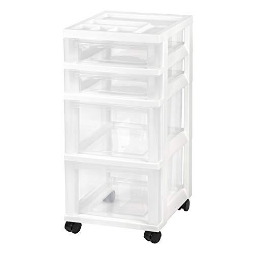 IRIS USA MC-322 Storage Drawer Cart, 4, White