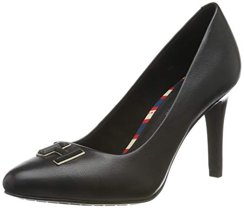 Tommy Hilfiger Essential Leather Pump, Zapatos de Tacón para Mujer, Black 990, 37 EU
