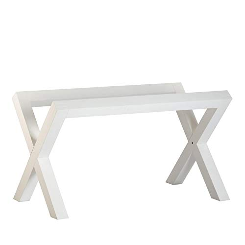 Gauss Base Table Blanche (Cristal Non Inclus) - Bois - 130x67x73 cm - Couleur Blanc Winter