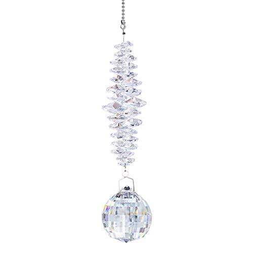 H&D Kristall Regenbogen Sonnenfänger,40mm klares Glas Kugel Prismen Dekor hängendes Fenster Ornament