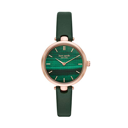 Kate Spade New York Women's Holland Quartz Stainless Steel, Leather Three-Hand Watch, Color: Gold, Green (Model: KSW1529)