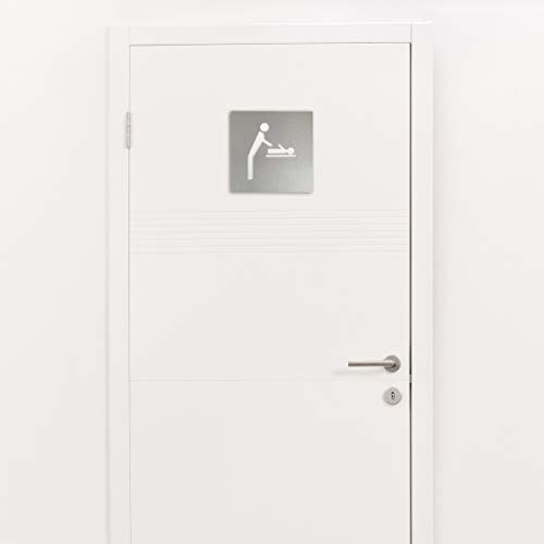 MS Beschläge Piktogramm Warnschild Hinweisschild Edelstahloptik 10cm x 10cm Türschild (Wickeltisch)