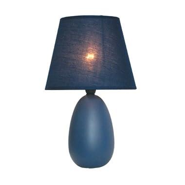 Simple Designs Home LT2009-BLU Mini Oval Egg Ceramic Table Lamp, 5.51  x 5.51  x 9.45 , Blue