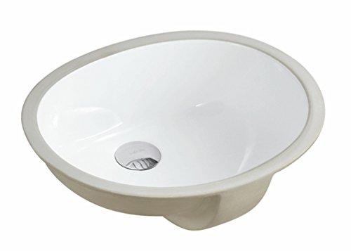 KINGSMAN Ovale Unterbau-Waschtisch-Waschtischplatte aus Glas-Keramik 17,5 Zoll Weiß