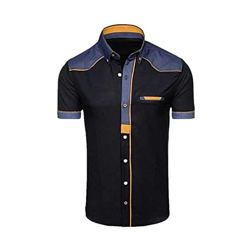 Camisas de los hombres Denim de manga corta Camisas Hombre Casual Verano Ropa Tops