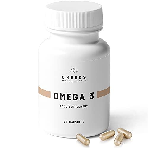Omega 3 - Cápsulas de Aceite de Pescado Puro de la más Alta Calidad - 1300 mg de DHA/EPA por porción - Suplemento de ácidos grasos Omega 3 - Sin sabor ni olor a pescado - 90 Tabletas
