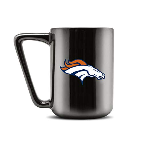 Duck House NFL Denver Broncos Keramik-Kaffeetasse – Metallic Schwarz, 454 ml