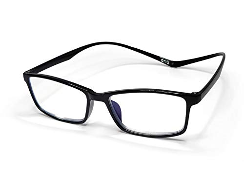 KIYOJIN Magnetic Reading Glasses Blue Light Blocking Lightweight Unisex Easily Around The Neck Case & Cloth Included … (Black, 2.0)
