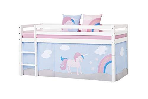 Hoppekids Unicorn Halbhohes Bett, Kiefer massiv, Pink, 90 x 200 cm