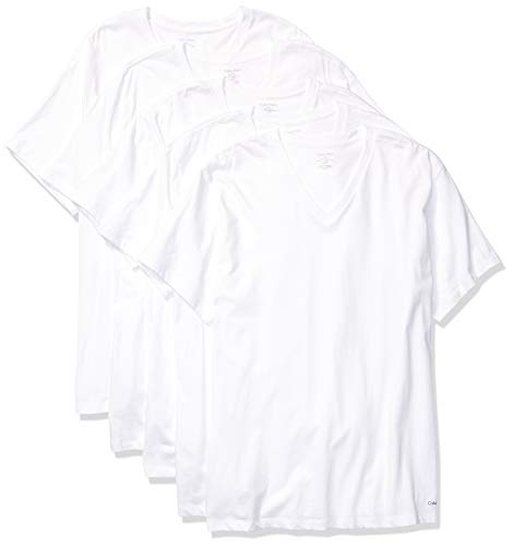 Calvin Klein Men's Cotton Classics Multipack V Neck T-Shirts, White (5 Pack), X-Large
