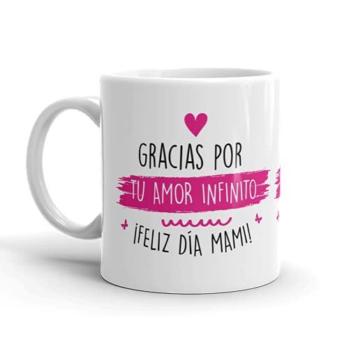 Kembilove Taza regalo día de la madre – Tazas Desayuno para Mamá con Mensaje Gracias por tu amor infinito – Tazas originales – Regalo para madres