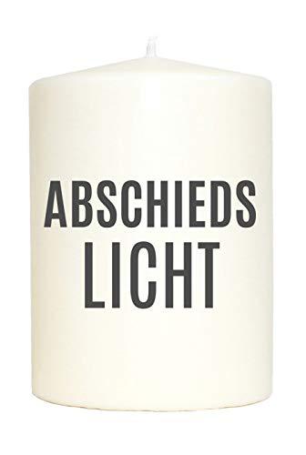 WB wohn trends Kleine Spruchkerze weiß, Abschieds-Licht, Aufdruck grau, 10x7cm, Trauer-Kerze Gedenk-Kerze mit Spruch Motiv-Kerze