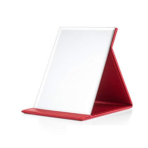 Hosoncovy PU Leder Klapp Kosmetikspiegel Tischspiegel Hoch Klarer Standspiegel Kompakter Reisespiegel (rot)