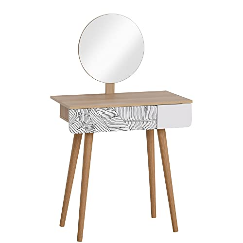 HOMCOM Dressing Table with Drawer and Mirror height adjustable Wooden Oak Color Bedroom Dressing Room Elegant and Durable