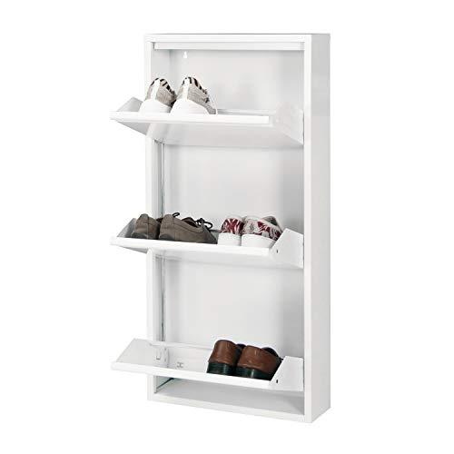 Betten-ABC Schuhschrank Amelie, modern, robust und platzsparend, aus pflegeleichtem Metall Farbe Weiß, Größe Drei Klappen