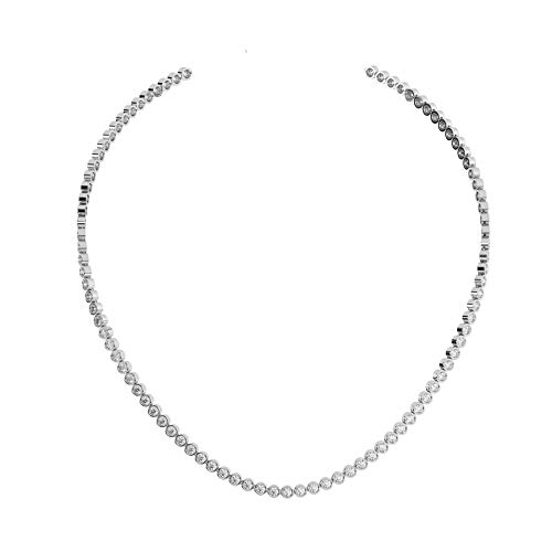 6.00ct Rubover Set Round Brilliant Cut Diamond Tennis Necklace in 18K White Gold