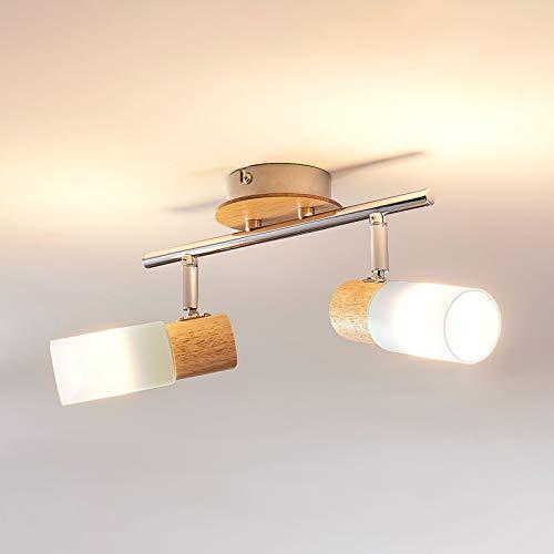 Lindby LED Deckenlampe 'Christoph' (Landhaus, Vintage, Rustikal) aus Holz u.a. für Schlafzimmer (2 flammig, E14, A+, inkl. Leuchtmittel) - Deckenleuchte, Wandleuchte, Strahler, Spot, Lampe