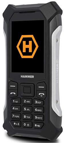 HAMMER Patriot+ Outdoor Handy ohne Vertrag, 2.4 Zoll Farbdisplay, 3G, Robust, Mega Batterie 1800 mAh, Wasserdicht (IP68), Stoßfest, Baustellen Handy Tasten, Taschenlampe, Dual SIM, Tastenhandy Silber
