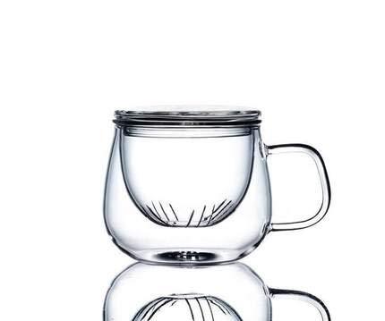 Générique Verre à thé avec infuseur - Théière en Verre Borosilicate - Mug avec Filtre passoire - Tasse à thé + Infuseur + Couvercle 300ml - Tous Types de thés à Infuser