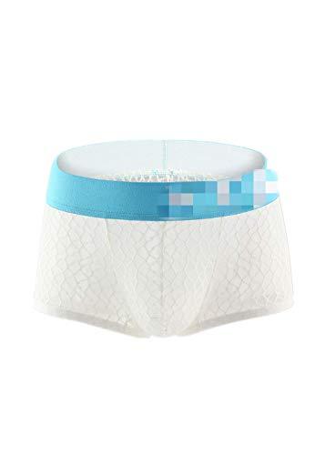 Wiftly Boxershorts Herren sexy Netz Transparent Beutel Unterhose Erotik Bequeme Low-Rise U Convex Shorts Briefs Unterwäsche für Männer (XL, Weiß)