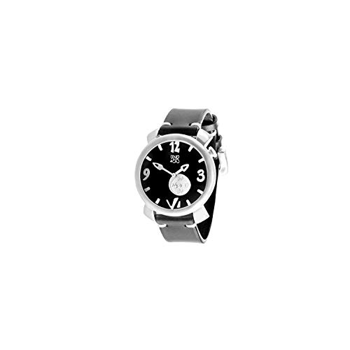 Reloj de Hombre con Caja Redonda Tallada a Mano y bañada en Plata de 20 micras. Dial de 48.5mm Color Negro con minutero en Esfera Interior y Correa de Cuero Ajustable Negra