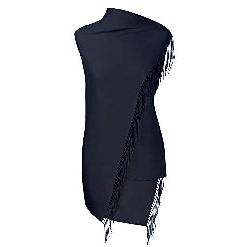 Fiolini Pashmina Schal Stola Umschlagtücher Tuch für Damen - Super Weich – (dunkelblau)