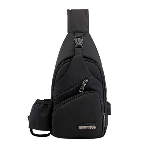 MRULIC Herren Brusttasche Reisetasche Mode Tasche Multifunktions Messenger Bag Einfach zu Installierende Brieftaschen und Handys(Schwarz,One Size)