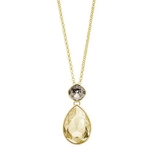 Noelani Damen Kette Erbskette 80 cm mit Tropfen Anhänger gelbvergoldet veredelt mit Swarovski Kristallen