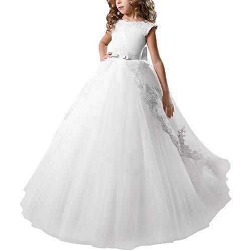 OBEEII Niñas Vestidos de Comunión sin Mangas Encaje Apliques Elegantes Princesa Vestidos de Fiesta Boda Noche Ceremonia Gala Pageant Cóctel Prom para Chicas 10-11 Años