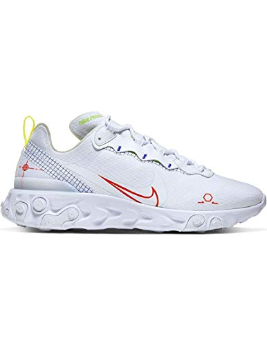 Nike React Element 55, Running Shoe Mens, Blanco/Laser Crimson/Racer Blue